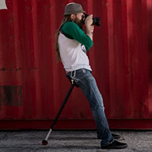 photographer taking a picture while leaning into the mogo seat