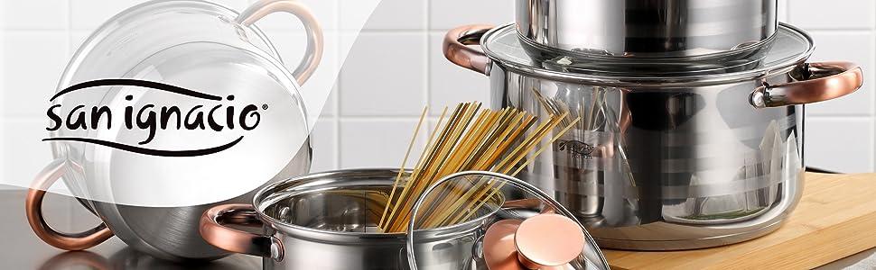 San Ignacio Premium Nona - Bateria de cocina de 4 piezas, acero inoxidable, 1.9L-2.7L-3.5L-5.1L, apta para todo tipo de cocinas incluido inducción, Cobre: Amazon.es: Hogar