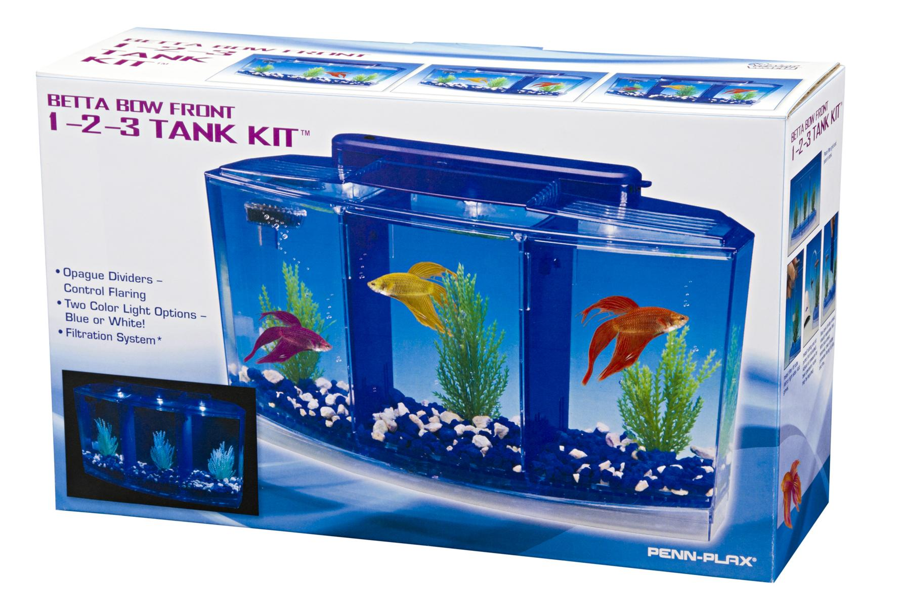 Penn plax deluxe triple betta bow aquarium tank 0 7 for Betta fish tanks amazon