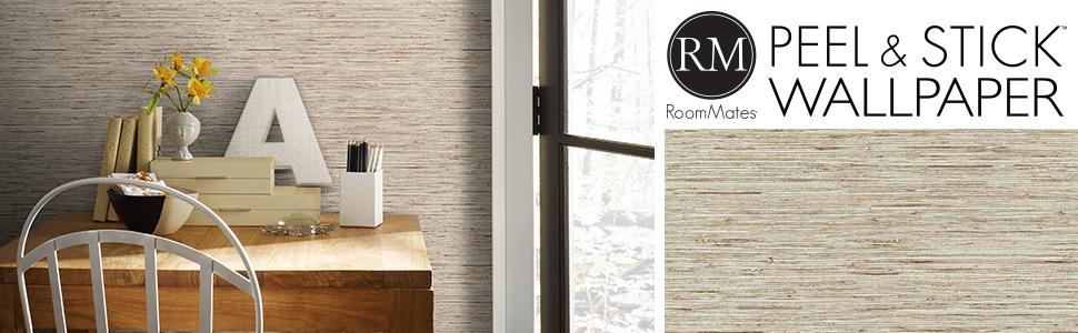 RoomMates RMK9031WP Tan Faux Grasscloth Non-Textured Peel ...