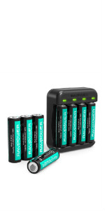 Rechargeable AA Batteries RAVPower 8 Pack 2600mAh