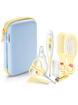 Philips Avent Baby Care Essentials Set: Digital Thermometer, Nasal Aspirator, Nail and Hair Care