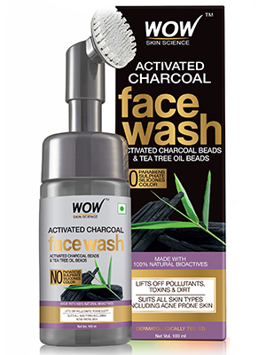 Activated Charcoal Foaming Face Wash with Built-In Face Brush