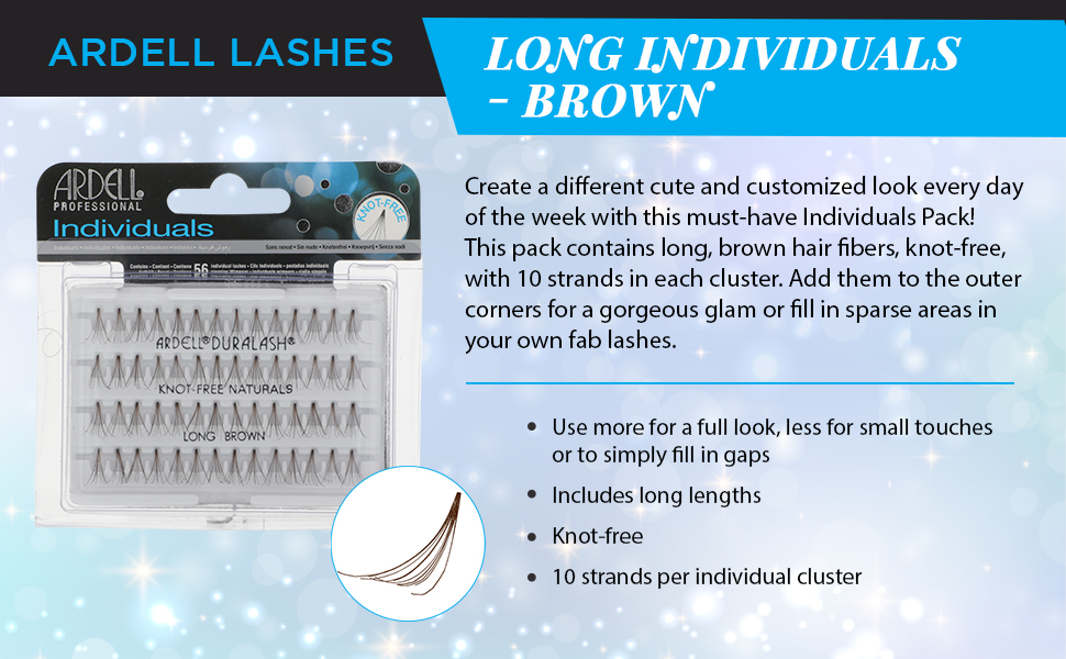 Ardell Lashes Individuals - Long Brown, 4 Pack