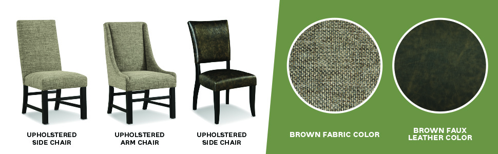 brown fabric faux leather upholstered arm side chair chairs set of 2 large fabric tweed