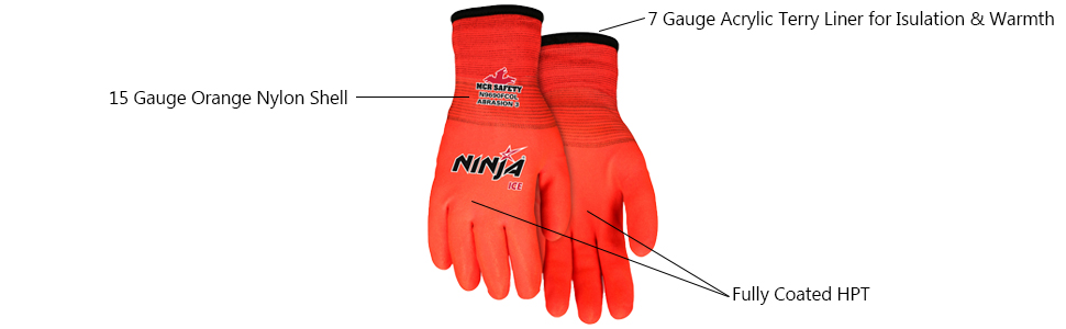 Memphis MCR Safety N9690FCO Memphis Ninja Ice Fully Coated Orange 15 Gauge orange nylon Size Large 1-Pair