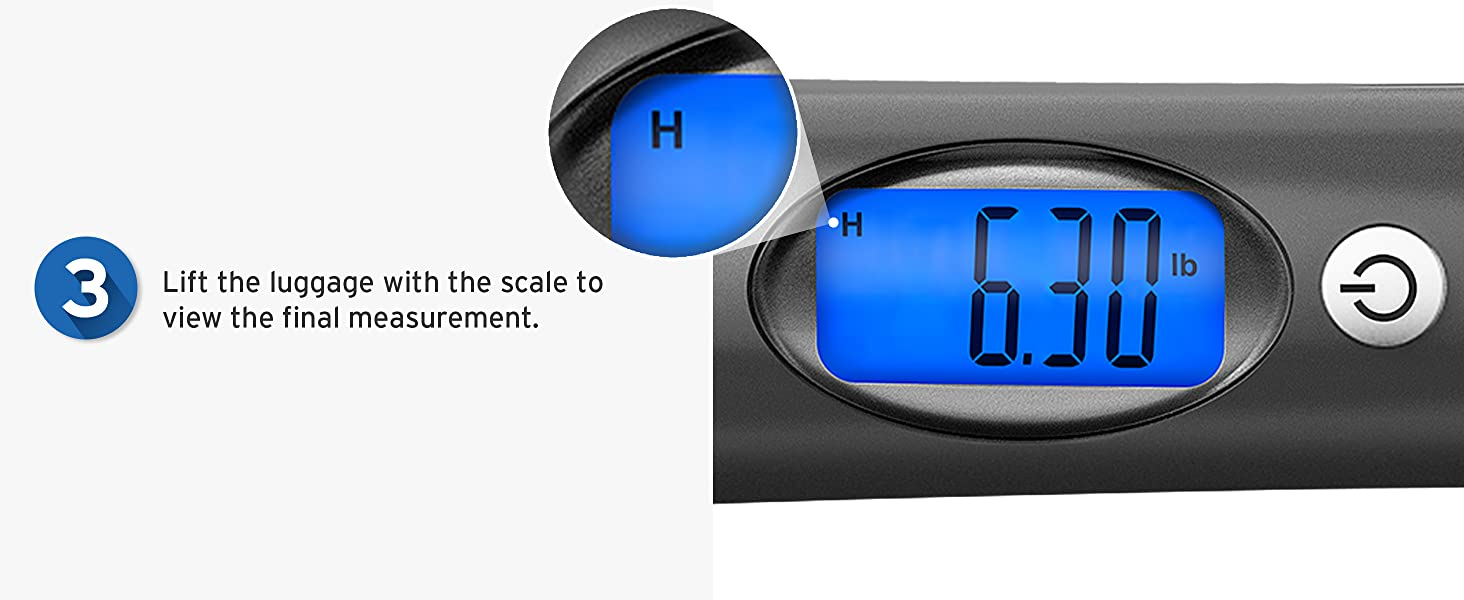 Lift the luggage with the scale to view the final measurement