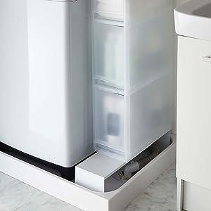 伸縮 洗濯機隙間ラック タワー ホワイト