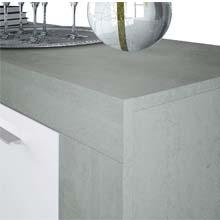 Habitdesign - Aparador Comedor Moderno, Buffet Salón, Ambit, 144x80x42 cm, color Blanco Artik y Gris Cemento