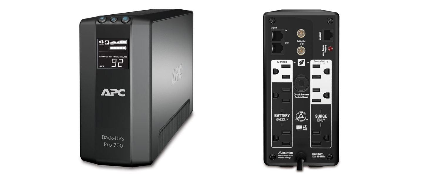 Amazon apc back ups pro 700va ups battery backup surge front and back of br700g fandeluxe Image collections