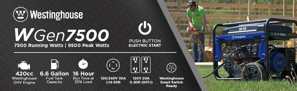 wgen7500 push button electric start gas power portable generator westinghouse emergency home backup
