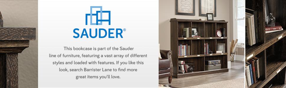 Sauder Barrister Lane Bookcase in an Iron Oak Finish