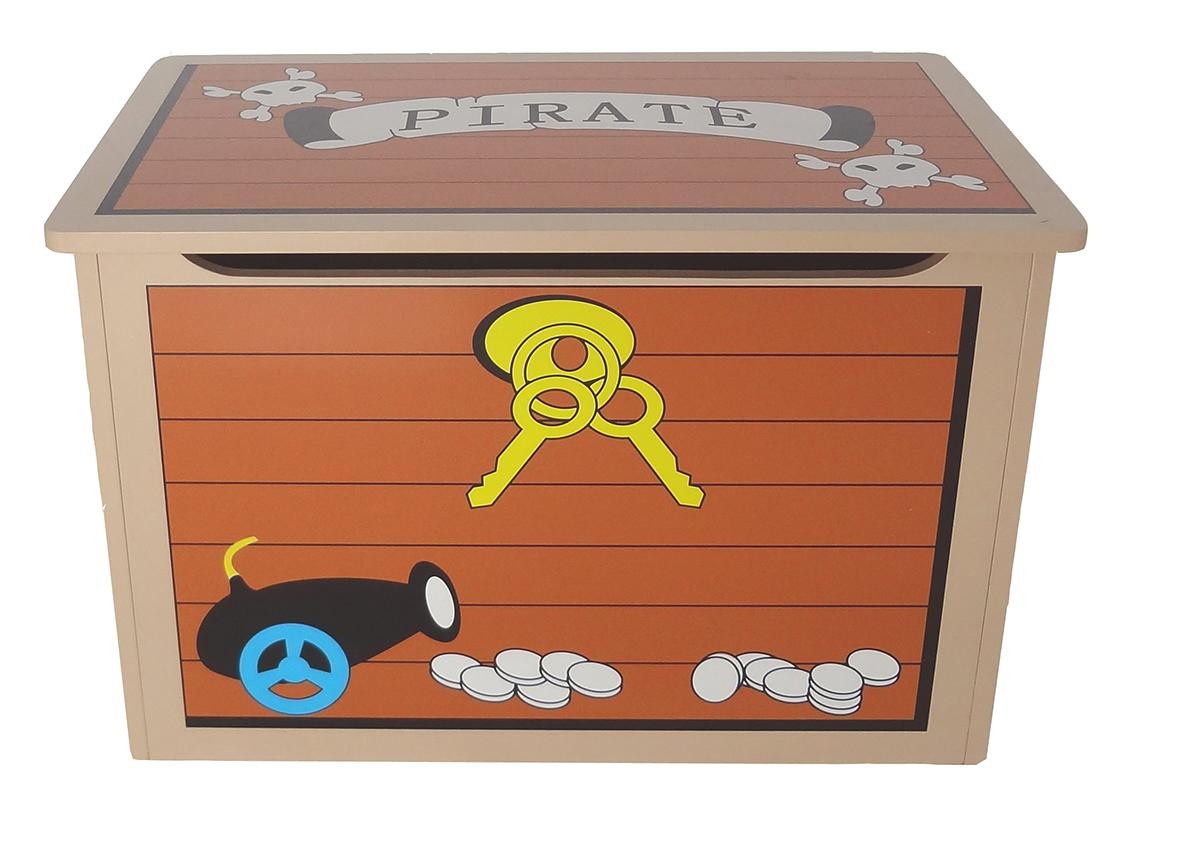 Childrens Jumbo Bedroom Room Tidy Toy Storage Chest Box Trunk: Kiddi Style Children's Pirate Wooden Treasure Chest Toy