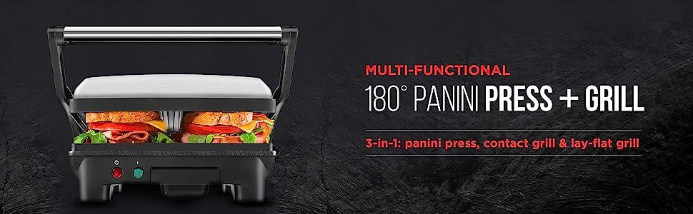 Panini, Sandwich Maker, Press, 180 degrees, Grill, Healthy, Easy, Non-stick. drip tray