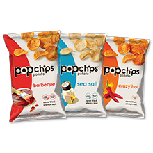 Popchips ridges baked potato chips, healthy low calorie, low fat snack, gluten free and kosher.