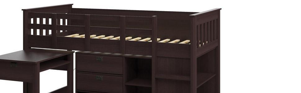 Amazon Com Corliving Bmg 370 B Madison Loft Bed With Desk