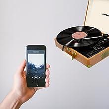 mbeat aria retro turntable player bluetooth music streaming