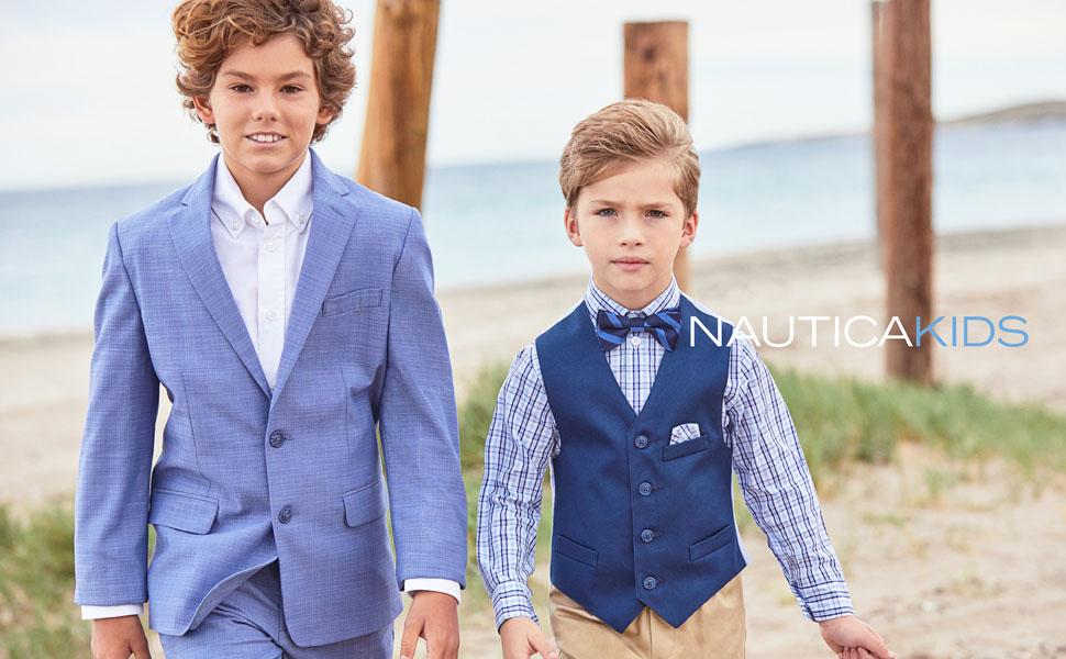 Boys Solid Black Vest Suit Set with Colored Dress Shirt Size 2T-14 Wedding Tie