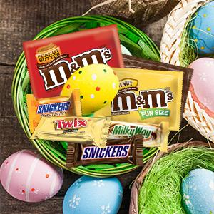 Use mini chocolate candies, such as SNICKERS and TWIX Candies for Easter decorations.