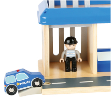 Small Foot 10899 Police Station Natural 100/% FSC-Certified Wood Parking Deck with helipad and car ramp Accessories Toys Multicolored Prison Cell incl