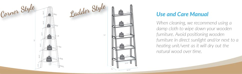 Amazon.com: Casual Home 176-51 5-Shelf Ladder Bookcase