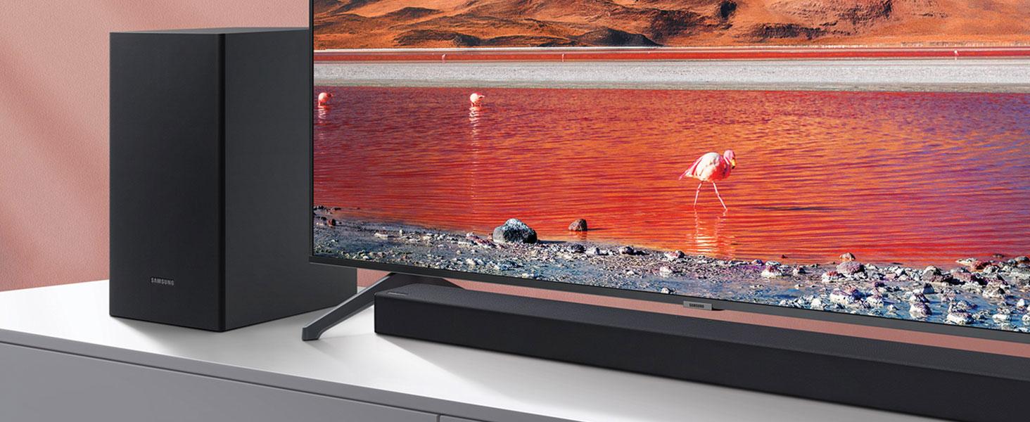 Barra de Sonido SAMSUNG HW-T420 - Sonido 150W, 2.1 Ch, Subwoofer cableado, Dolby Digital 2.1, Bluetooth 4.2 Power On, Game Mode y One Remote Control: Amazon.es: Electrónica