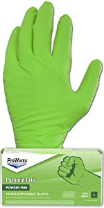 Neon green, Nitrile, Pyramid Grip, Heavy Texture, Strong, ProWorks, Adenna, Auto, Industrial