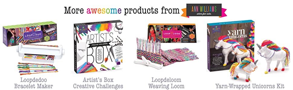 Craft-tastic craft kits for kids from Ann Williams Group, makers of Loopdedoo Loopdeloom Craft Crush