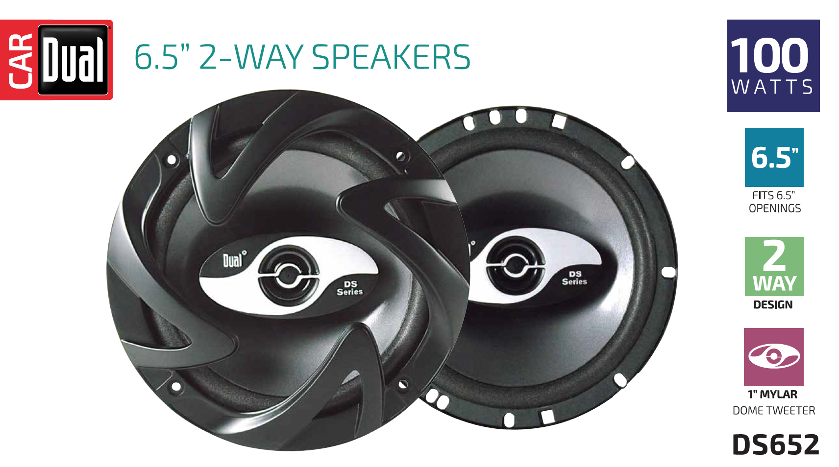 Dual Electronics DS652 2-Way 6 ½ inch Car Speakers with 100 Watts Peak Power