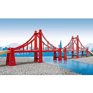 Double Suspension Bridge 5 Piece Toy Train Accessory For Kids Age3 Wooden Track
