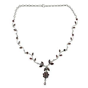 NOVICA Garnet .925 Sterling Silver Flower Pendant Necklace,Handmade Jewelry,For Women,Floral Design