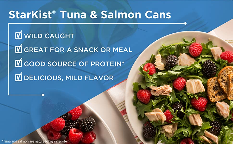 StarKist Tuna & Salmon Cans, wild caught, great for a snack or a meal, good source of protein