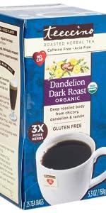 Teeccino Dandelion Dark Roast Herbal Tea is a gluten-free coffee substitute made with dandelion root
