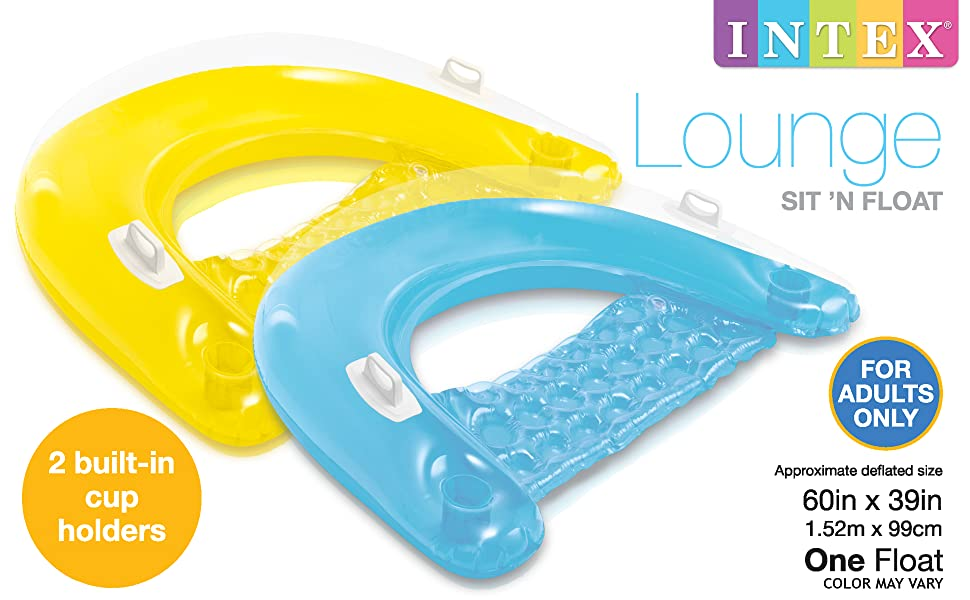 """1 Pack Intex Sit N Float Inflatable Lounge Colors May Vary 60/"""" X 39/"""","""