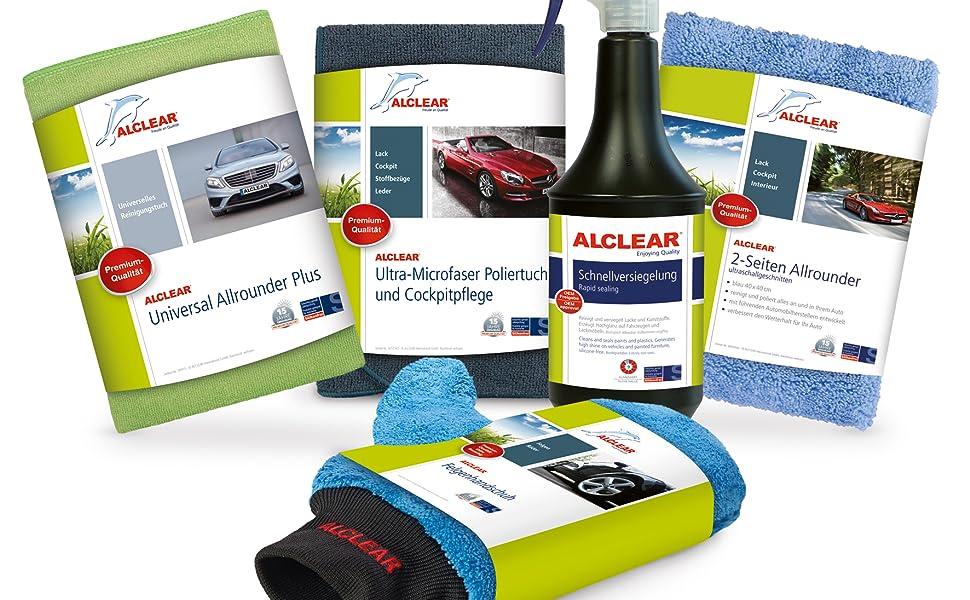 Alclear 8201050 Autopflegeset Für Tiefenglanz Mit Lack Scheiben Trockentuch Auto Poliertuch Lackversiegelung Felgenhandschuh Cockpittuch Auto
