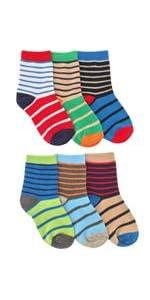 Jefferies Socks Boys' Little Boys' Stripe Cotton Crew 6 Pair Pack