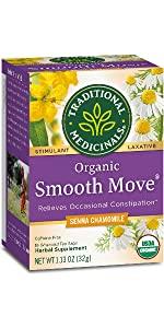 senna, smooth move, tea, wellness, constipation, chamomile, tea
