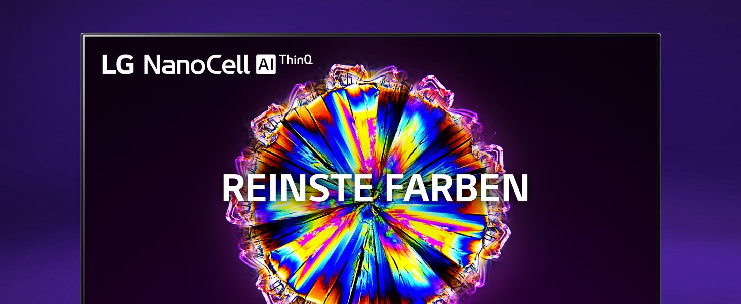ein lg nano-cell tv mit einem bunt leuchtenden kristall vor einem dunklen hintergrund
