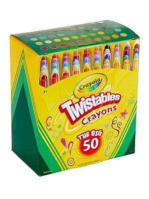 50 crayola twistables, school supplies, coloring supplies, art supplies, coloring book crayons