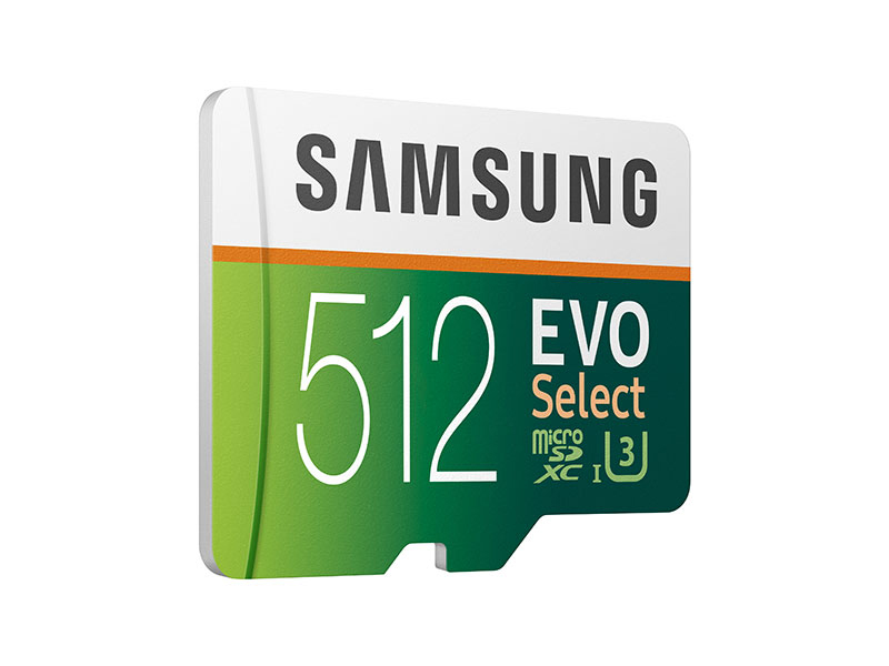 Angled shot of Samsung 512GB MicroSDXC EVO Select Memory Card