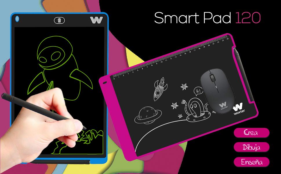 WOXTER Smart Pad 120 Black - Pizarra electrónica, Tableta de Escritura de 12