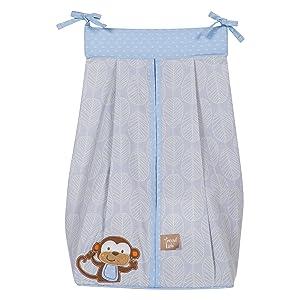 jungle fun diaper stacker, blue and gray diaper stacker,  monkey diaper stacker