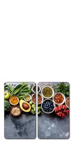 Kesper, plaque de découpe multi-verre, plaque de verre, plaque de découpe en verre, plaque de cuisson, cache de cuisinière.