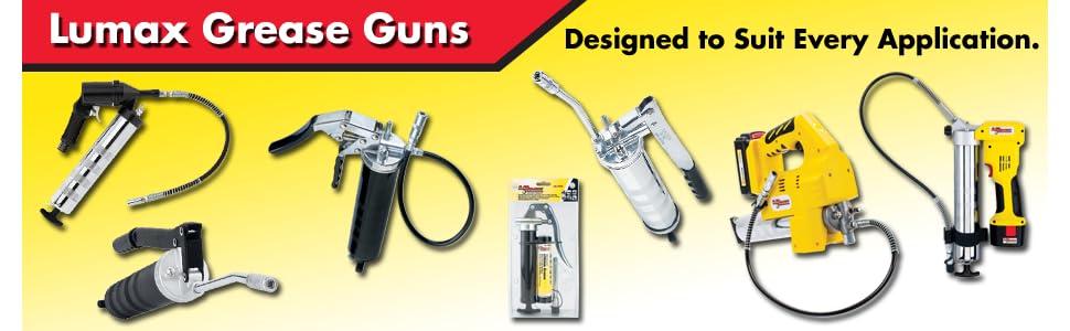 Lumax LX-1152 Black Heavy Duty Deluxe Pistol Grease Gun with 18