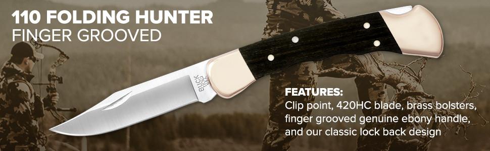 Coltellino 110 Pocket Knife ORIGINALE Buck 110 Folding Hunter Finger Grooved