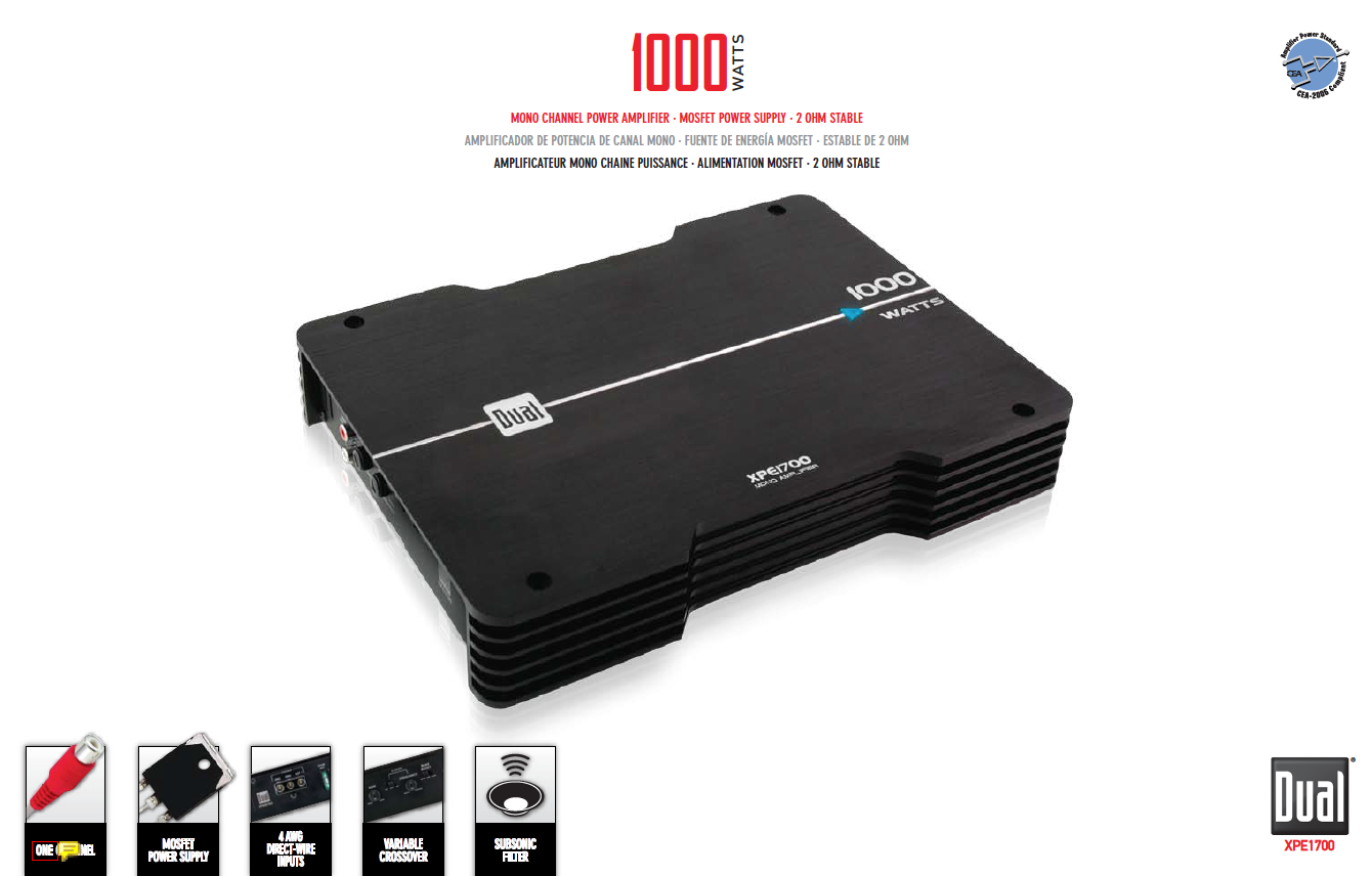 Dual XPE1700 1000-Watt Max Monoblock MOSFET XPE Series Power ...