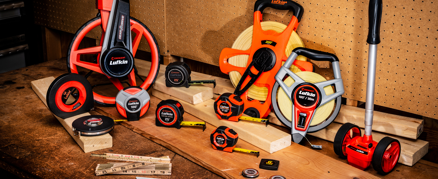 Crescent Lufkin tape measures, wood rules, long tapes, measuring wheels, and pocket tapes