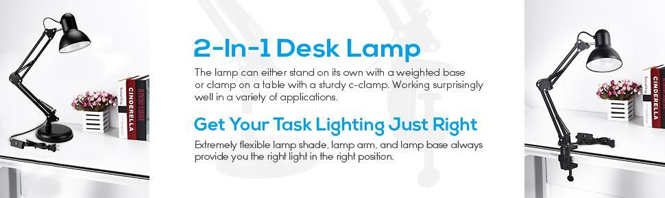 Metal Swing Arm Desk Lamp Interchangeable Base Or Clamp