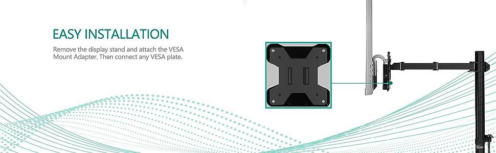 WALI VESA Mount Adapter Bracket for AOC Monitors, i2367Fh, i2367Fm, i2367F, i2757Fh, i2757Fm, i2067F, i2267Fw, and i2267Fwh (VAO001), Black