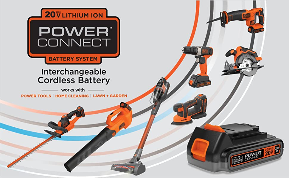 20V MAX* Litium Ion Powerconnect Interchangeable Cordless Battery System